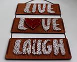Панно стрінг-арт «Live, Love, Laugh»: біло-червоний декор для вашого інтер'єру / String Art, фото 5