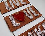 Панно стрінг-арт «Live, Love, Laugh»: біло-червоний декор для вашого інтер'єру / String Art, фото 8