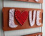 Панно стрінг-арт «Live, Love, Laugh»: біло-червоний декор для вашого інтер'єру / String Art, фото 3