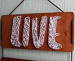 Панно стрінг-арт «Live, Love, Laugh»: біло-червоний декор для вашого інтер'єру / String Art, фото 2