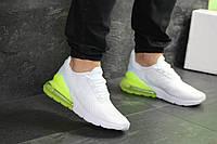 Модные кроссовки Nike Air Max 270, мужские, белые с желтой пяткой, (реплика)