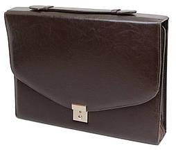 Деловая папка-портфель из эко кожи JPB AK-08 коричневый