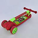 Самокат трехколесный детский красный Best Scooter светящиеся колеса складной руль от 3 лет, фото 4