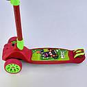 Самокат трехколесный детский красный Best Scooter светящиеся колеса складной руль от 3 лет, фото 3