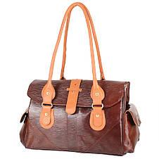 Женская кожаная повседневно-дорожная сумка  LASKARA (ЛАСКАРА) LK-DM233-choco-cognac, фото 2