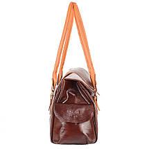 Женская кожаная повседневно-дорожная сумка  LASKARA (ЛАСКАРА) LK-DM233-choco-cognac, фото 3