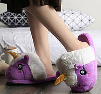 Женские фиолетовые тапочки игрушки Единороги, тапочки игрушки, тапочки кигуруми, тапочки для дома, тапочки іграшки, тапочки кигуруми, тапочки для дому