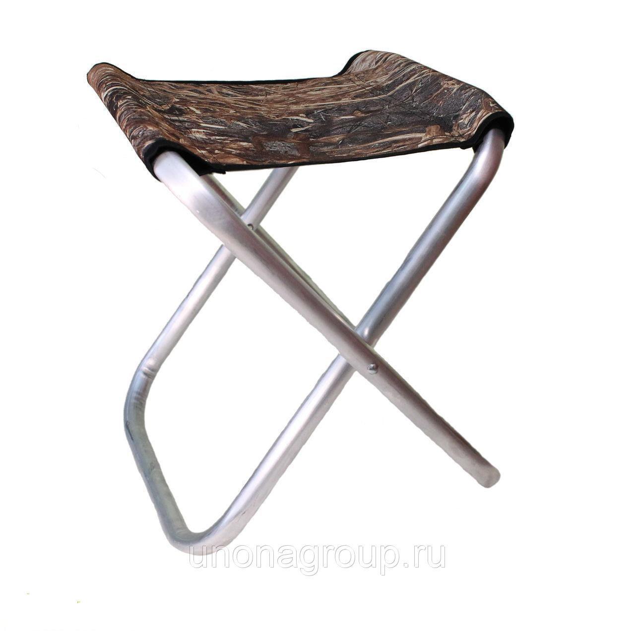 Складной алюминиевый рыбацкий стул без спинки 30x30x50 см маленький камуфляж