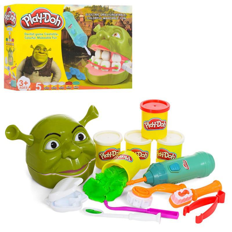 Набор для творчества Play-Doh Дантист Мистер зубастик Шрек, пластилин 5 цветов (6612)