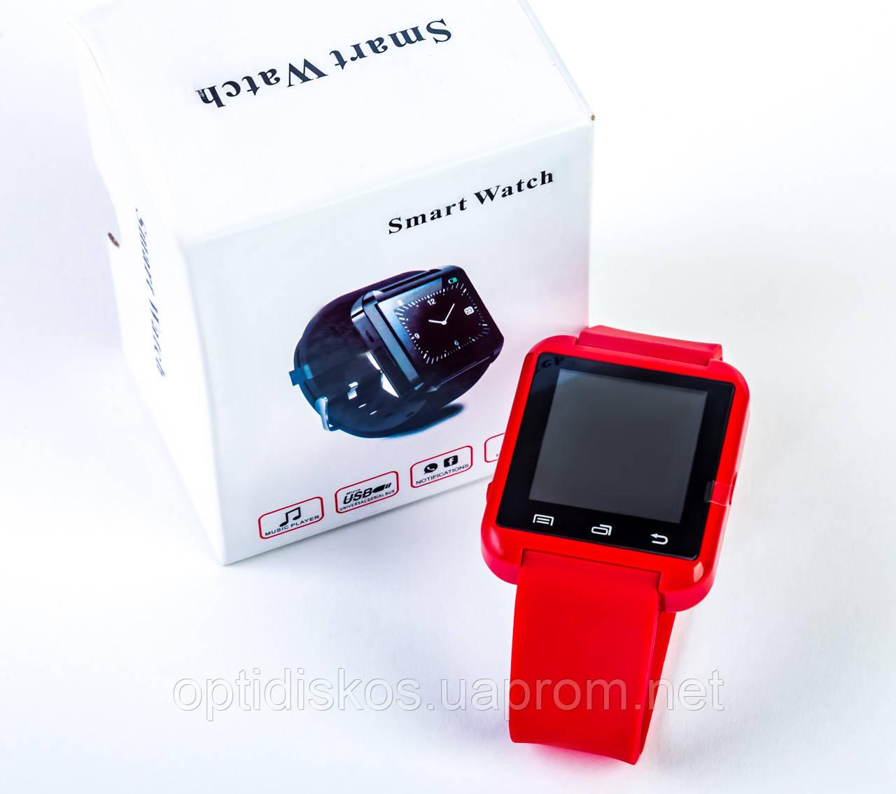 Уценка! Под замену АКБ! Смарт часы U8 с Bluetooth и шагомером, красные