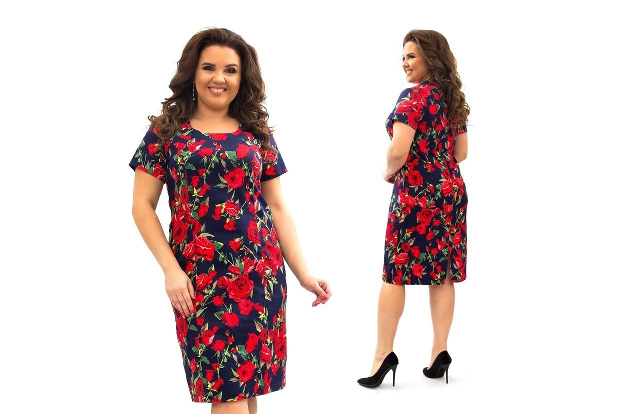 Женское силуэтное платье коттоновое в цветочный принт 52,54,56,58,60
