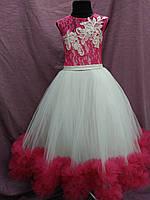 Платье детское нарядное с пушистой юбкой на 6-9 лет молочное с ярко-розовым (цвет фуксии)