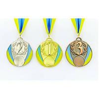 Медаль спортивная с лентой UKRAINE с укр. символикой