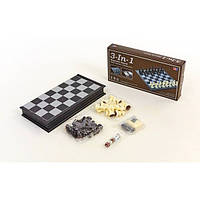Шахматы, шашки, нарды 3 в 1 дорожные пластиковые магнитные