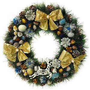 Новогодний венок - Рождественский венок d-45 см - с золотыми бантами