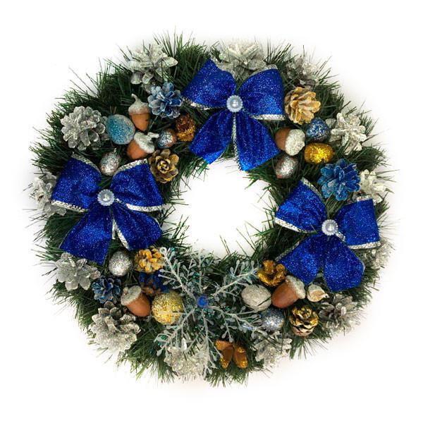 Новогодний венок - Рождественский венок d-36 см - с синими бантами