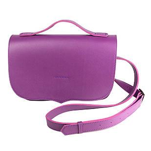 Фиолетовая сумка из экокожи без внутренних карманов с застежкой и ремешком