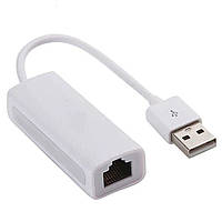 ✓Внешняя сетевая карта Lesko DM-HE04 Белая USB-RJ45 для планшета смартфона на windows универсальная