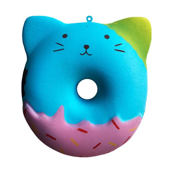 Мягкая игрушка антистресс Сквиши Squishy Пончик - Кот голубой