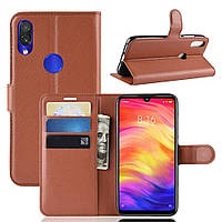 Чехол-книжка Litchie Wallet для Xiaomi Redmi Note 7 Коричневый