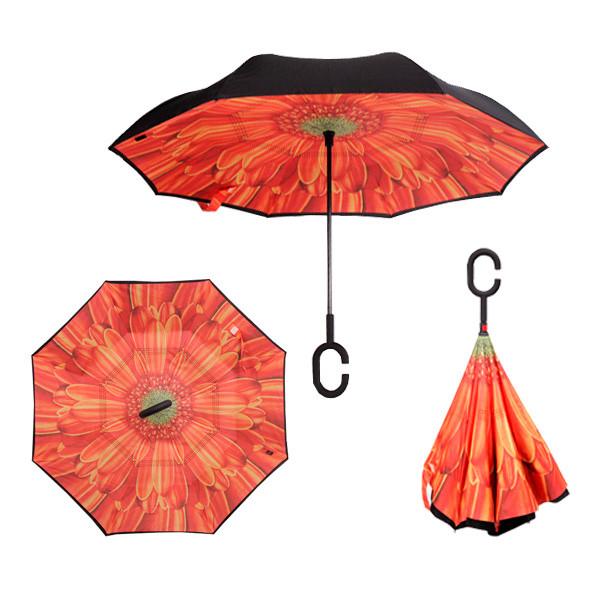 Зонт обратного сложения Up-brella Хризантема оранжевая №61