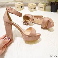 39 р. Босоножки женские розовые пудра замшевые на высоком каблуке, очень, толстом, из замши,замша,летние, фото 1