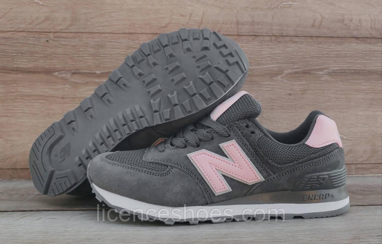 Женские кроссовки New Balance 574 Dark Grey/Pink