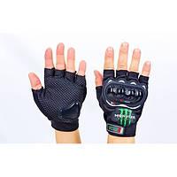 Вело-мото перчатки текстильные усил. протектор MONSTER Energy (открытые пальцы,р-р L-XL) PM-7