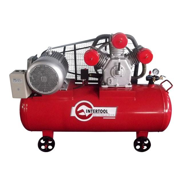 Компрессор 300 л, 11 кВт, 380 В, 8 атм, 1600 л/мин. 3 цилиндра INTERTOOL PT-0050