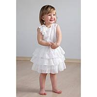 Платье для девочки с оборками (айвори) 03-00511