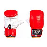 Снарядные перчатки с манжетом на липучке Кожа ZEL (красный-белый)