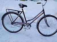 """Женский велосипед с заниженной рамой и багажником """"Спутник"""" 28"""" (ХВЗ) красный/синий/зеленый."""