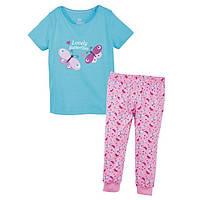 Пижама голубая футболка и розовые штаны Бабочки Lupilu IAN 293601 р.86/92, 110/116см