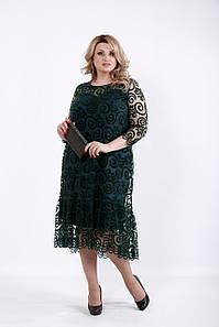 Зеленое нарядное платье больших размеров 1064 62