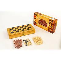 Шахматы, шашки, нарды 3 в 1 бамбуковые SN-5 (фигуры-дерево, р-р доски 30x30см)