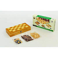 Шахматы, шашки, нарды 3 в 1 деревянные SN-15 (р-р доски 30см x 30см)