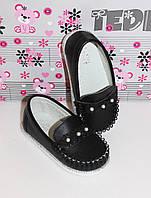Туфли для девочки Мокасины черные 24-29