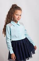 Блузка рубашка для девочки нарядная в мятном цвете ОПТ