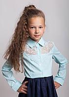 Блузка рубашка для девочки нарядная мятная мод. 8012