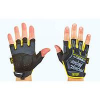 Перчатки тактические с открытыми пальцами MECHANIX   (р-р M-XL,черный-желтый )