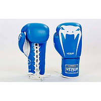 Перчатки боксерские кожаные на шнуровке VENUM GIANT (р-р 10-14oz) BP-31
