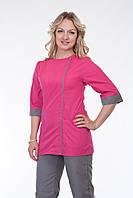Костюм медицинский с серо-розовым цветом на модной молнии