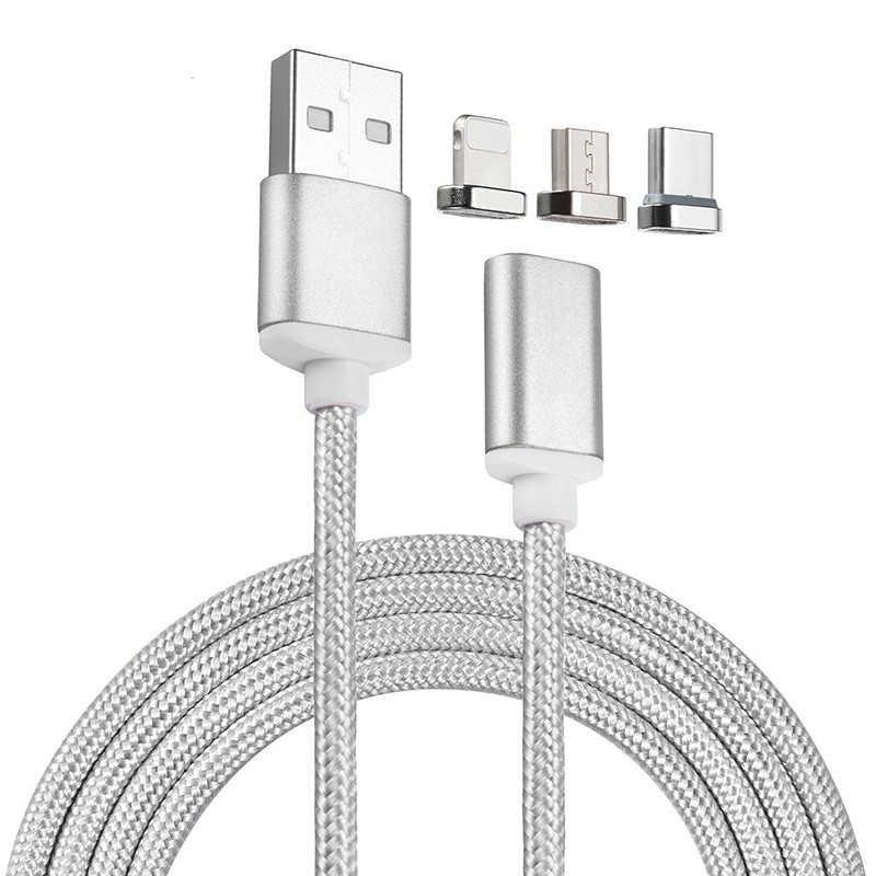 Магнитная зарядка, кабель для зарядки, Серебристый, Micro-USB, Lightning, Type-C