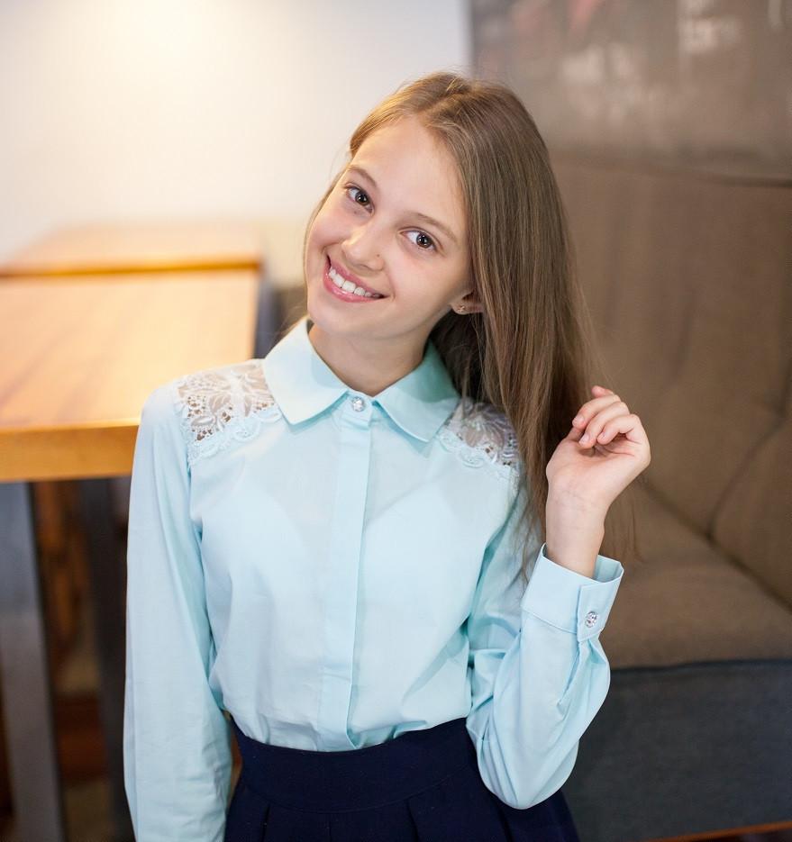 Блузка рубашка для девочки нарядная в мятном цвете