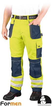 Штани робочі сигнальні LEBER&HOLLMAN (робочий одяг сигнальна) LH-FMNX-T YGS, фото 2