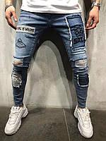 Мужские крутые джинсы (синие) /зауженные / с принтами 3