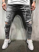Мужские крутые джинсы (серые) /зауженные / с принтами 4