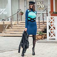 Вязаное женские платье Катерина бирюзово-синее