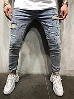 Мужские крутые джинсы (светло синие ) /зауженные / с потёртостями 5