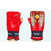 Снарядные перчатки с открытым большим пальцем Кожа DX TWINS (красный)